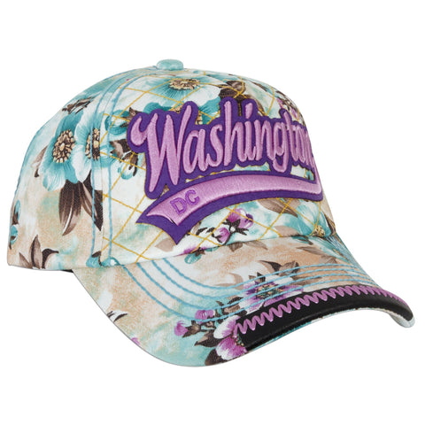 CPDC66-G Robin Ruth Baseball Cap PURPLE with Blossoms Washington DC