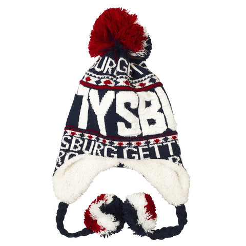 CPGP01 Robin Ruth Knit Cap with Pom Gettysburg Navy White Red