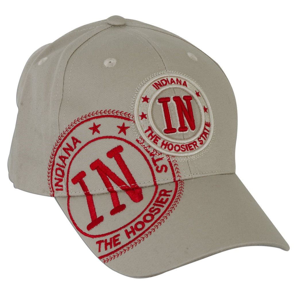 CPIN03 Cap / Indiana IN Stamp - Khaki with Red