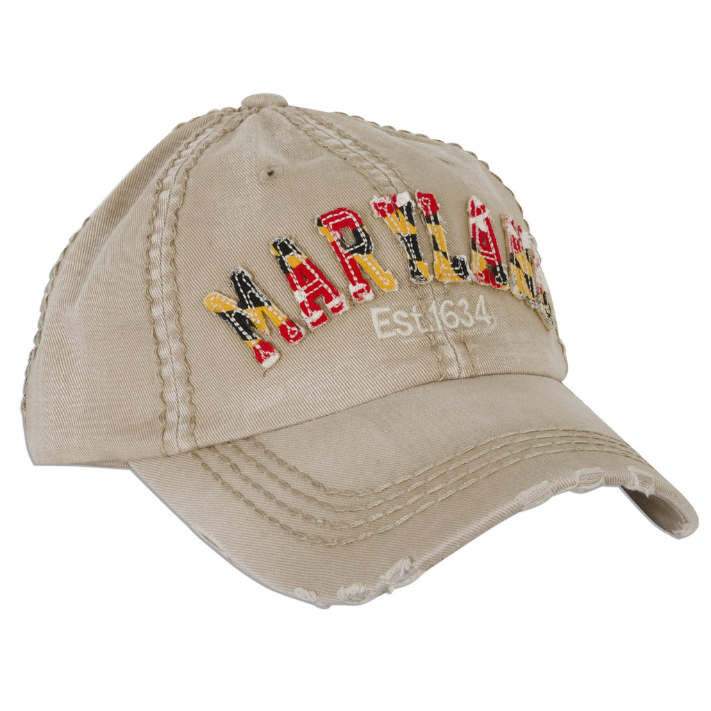 CPMD13 Cap - Maryland Flag Stitched Word KHAKI