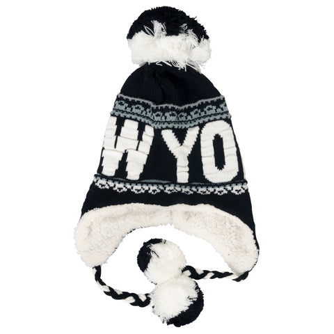 CPNY50 Robin Ruth Knit Cap with Pom New York Black White