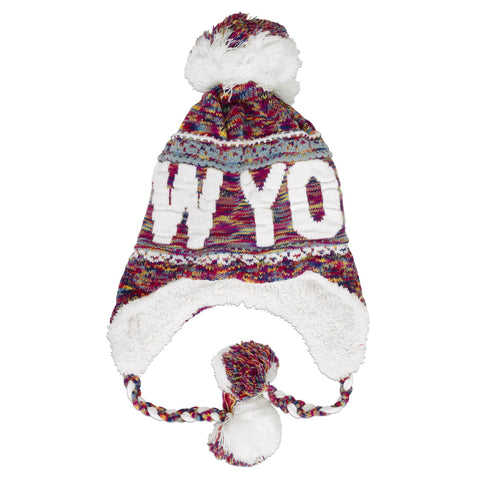 CPNY52 Robin Ruth Knit Cap with Pom New York Pink Multi