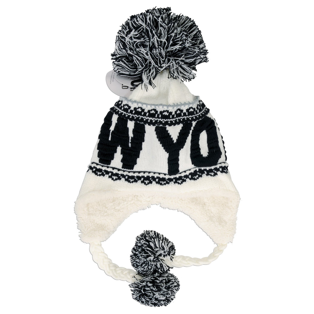 CPNY53 Robin Ruth Knit Cap with Pom New York White Black