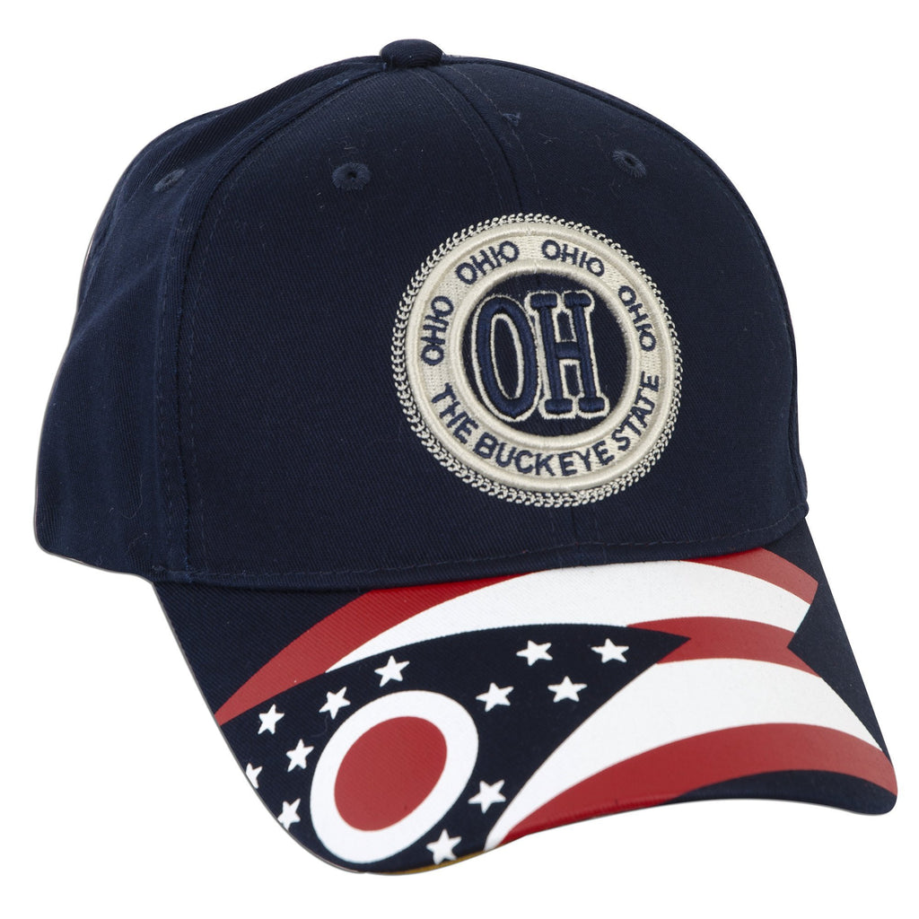 CPOH05 Baseball Cap - Ohio Stamp with Flag NAVY