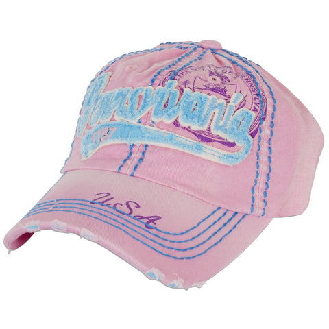 CPPA08 Robin Ruth Cap Pennsylvania Script Pink Light Blue