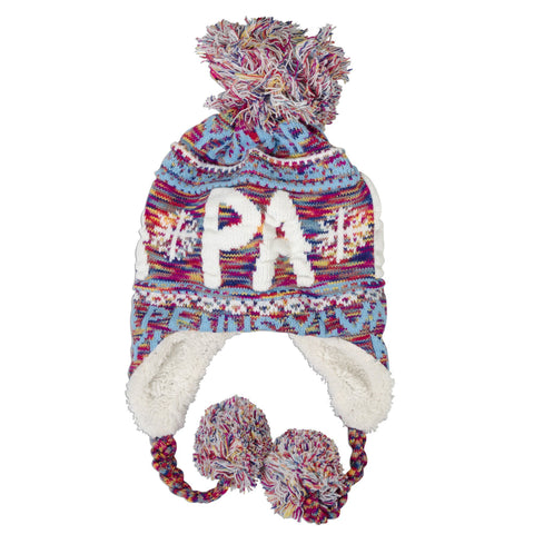 CPPA95 Robin Ruth Knit Cap with Pom Pennsylvania Pink White Grey