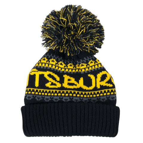 CPPG90 Knit Cap with Cuff and Pom - Pittsburgh BLACK