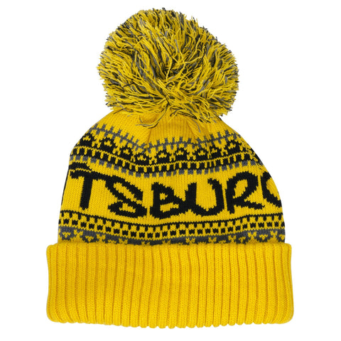 CPPG91 Knit Cap with Cuff and Pom - Pittsburgh GOLD