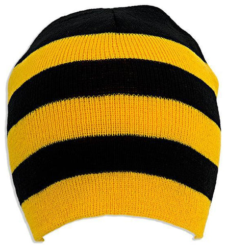 CPST11 Cuffless Beanie GoldBlack Striped no Logo