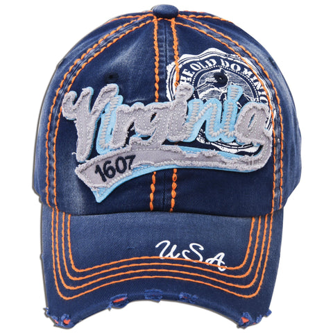 CPVA02 Robin Ruth Cap Virginia Script Navy Silver Orange