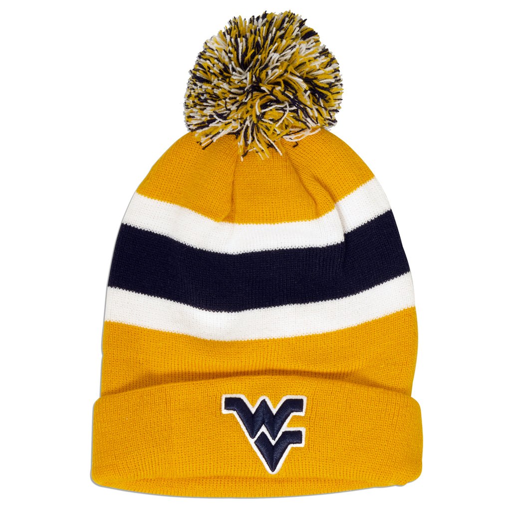 CPWU61 Knit Cap with Pom Pom West Virg U Breakaway