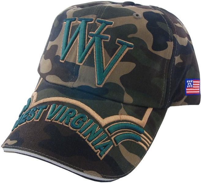 CPWV10 Baseball Cap Green Camo West Virginia Raised