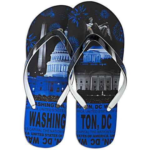 FFDC1B Robin Ruth Flip Flops - Washington DC Skyline BLUE