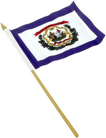 FLWV1 Flag on stick 4 x 6 West Virginia
