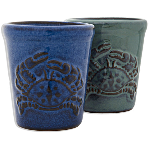 GLCR05 Shot Cup Pottery Embossed Crab