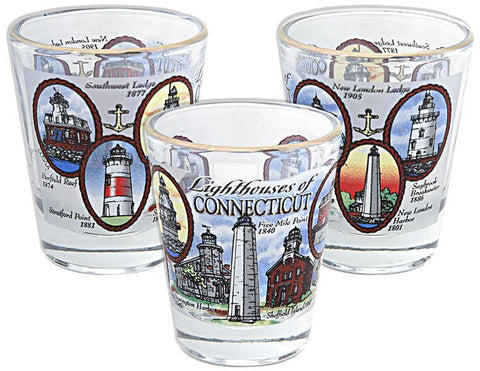 GLCT04 Shot Glass - Lighthouses of Connecticut