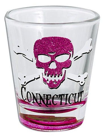 GLCT06 Glitter Skull Shot Glass - Connecticut