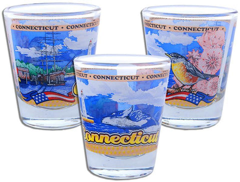 GLCT99 Panorama Shot Glass - Connecticut