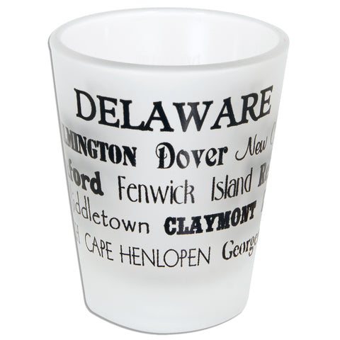GLDE12 Frosted Shot Glass - Delaware Cities