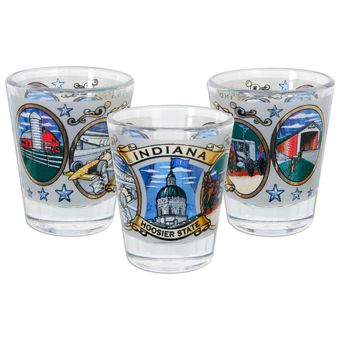 GLIN04 Shot Glass Frosted Indiana Ovals