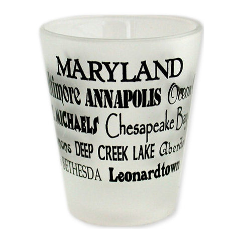 GLMD16 Shot Glass Frosted Cities of Maryland