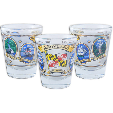 GLMD18 Shot Glass Maryland Ovals with Gold