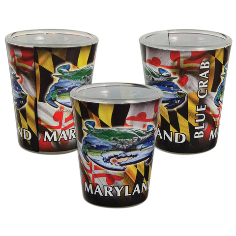 GLMD26 Shot Glass Photo Wrap MD Blue Crab with Flag