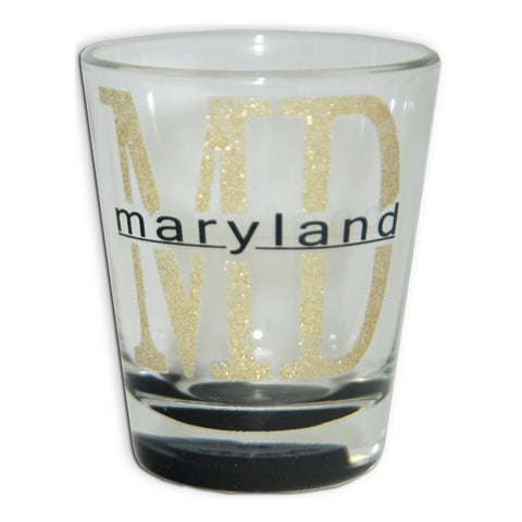 GLMD43 Shot Glass Glitter MD with Color Bottom