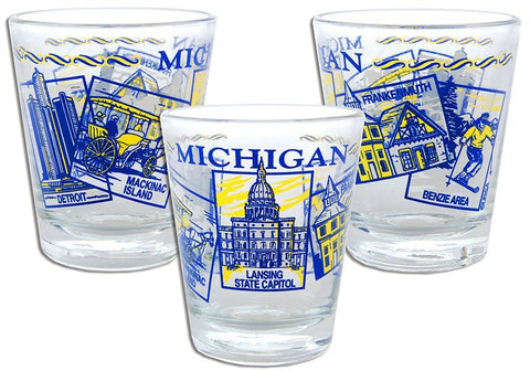 GLMI01 Shot Glass 5 Scenes Michigan