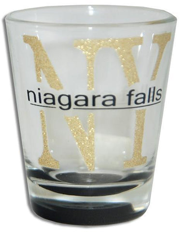 GLNF02 Shot Glass Glitter NY Niagara Falls with Color Bottom