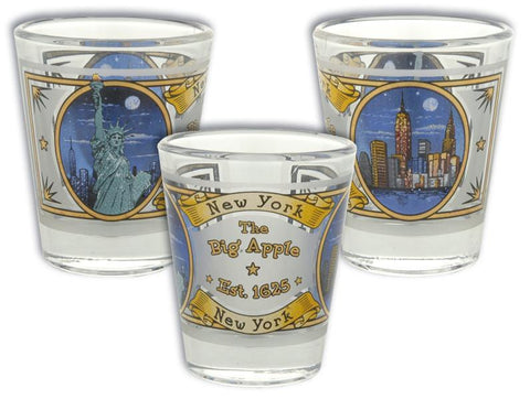 GLNY07 Shot Glass Frosted Gold New York City