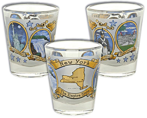 GLNY12 Shot Glass Frosted Ovals New York State