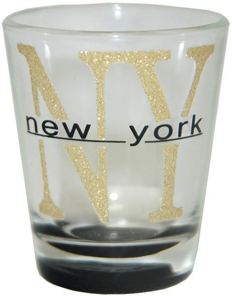 GLNY22 Shot Glass Glitter NY New York with Color Bottom
