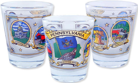 GLPA27 Shot Glass Pennsylvania Ovals with Gold