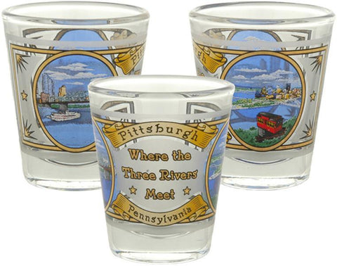 GLPG10 Shot Glass Frost Gold Pittsburgh Three Rivers