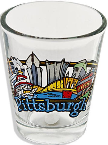 GLPG14 Shot Glass Clear Pittsburgh Panorama