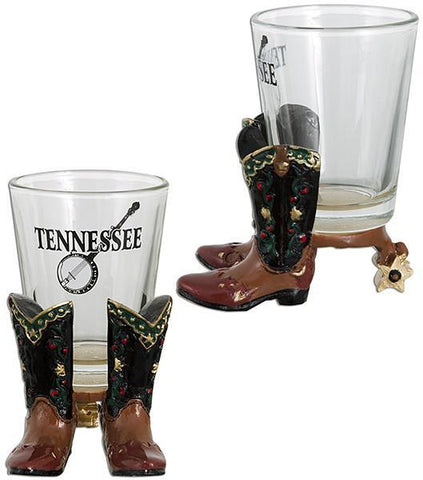 GLTN05 Shot Glass Polyresin Boots Tennessee