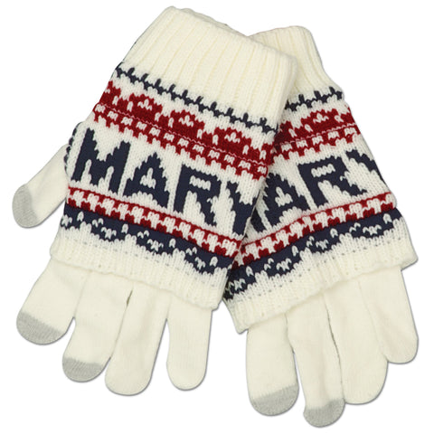 GVMD02 Robin Ruth Knit Gloves - Maryland WHITE/NAVY/RED