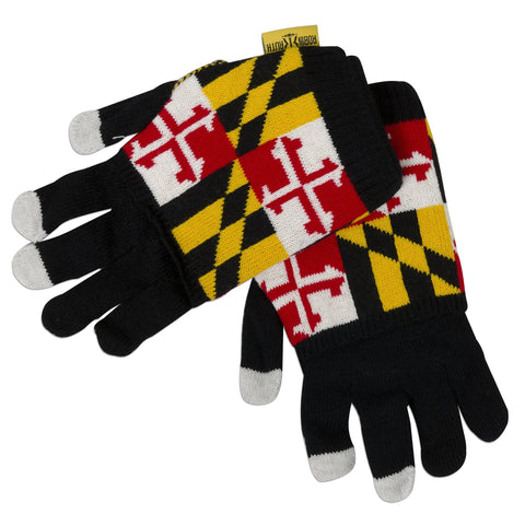 GVMD03 Robin Ruth Knit Gloves - Maryland Flag with Cover BLACK