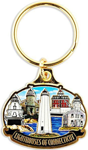 KRCT01 Key Ring Color-Filled Connecticut Lighthouses