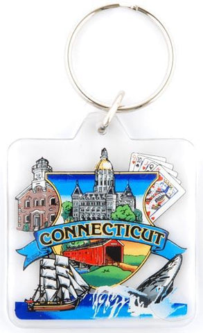 KRCT05 Key Ring Lucite Square Connecticut Montage
