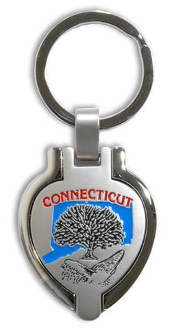 KRCT10 Key Ring Pewter Locket Connecticut
