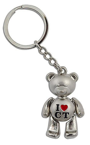 KRCT12 Key Ring Moving Bear Silver I Heart CT