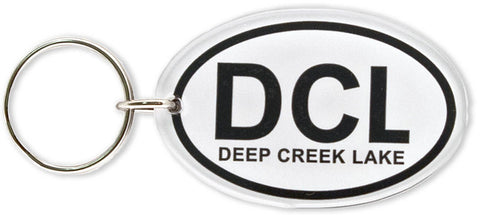 KRDL02 Key Ring Thick Lucite Oval DCL Deep Creek Lake