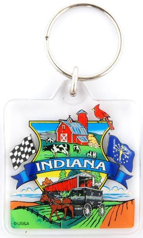 KRIN01 Key Ring Lucite Square - Indiana Montage