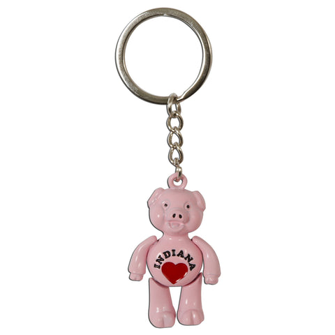 KRIN08 Key Ring / Moving Pink Pig - Indiana with Heart