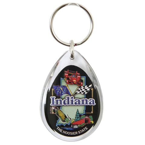 KRIN15 Key Ring Lucite Tear Drop - Indiana Symbols