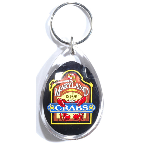 KRMD05 Key Ring Lucite Teardrop MD is for Crabs