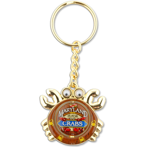 KRMD12 Key Ring Rotate Crab Maryland is for Crabs