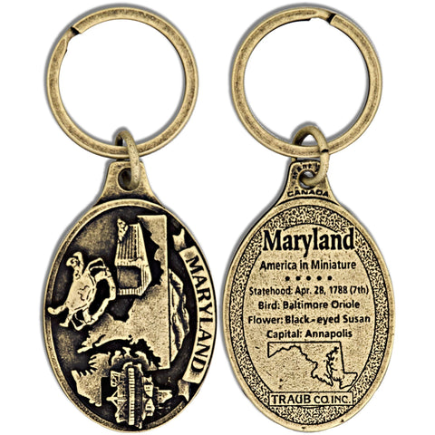 KRMD21A Key Ring Antique Brass Maryland Oval